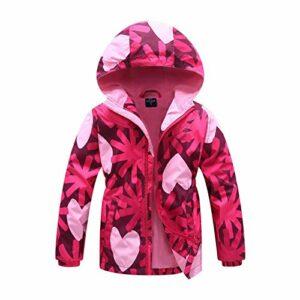 Gogokids Veste imperméable à capuche pour fille avec doublure en polaire – Coupe-vent chaud pour le camping, la randonnée, 4-13 ans
