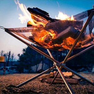 Grande Foyer Portable, Poêle De Camping en Plein Air, Étagère De Feuilles De Camping, Filet De Charbon De Bois Et Support De Pique-Nique De Pique-Nique, avec Un Sac Portable, 56 * 56 * 43Cm