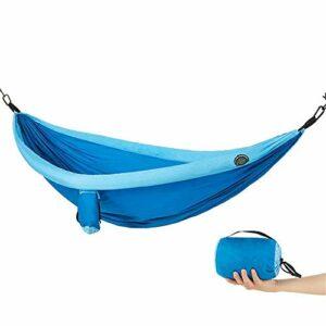 Hamac de camping en plein air Hamac de camping avec sac Hamac de plein air Habille d'intérieur Swing Swing Double moustiquaire Double moustiquaire Tente de couchage Tape de couchage (couleur: bleu) ji