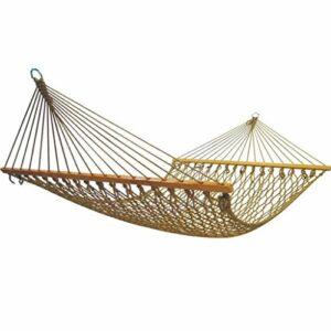 hamac Portable Balançoire Chaise en Maille avec des Bâtons en Bois Balcon Camping en Plein Air (Size : 1.4m)