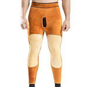 haoyue Hommes Pantalons Thermiques Pantalon Leggings Épais Bas sous-vêtements Camping Vêtements Ski (Color : Gray, Size : 2XL)