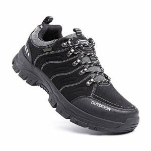Hitmars Chaussure Randonnee Hommes Antidérapants Chaussure de Marche Respirant Bottes Trekking Basses de Plein Air 2 Noir Taille 44 EU