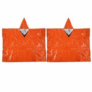 Jershal Imperméable d'urgence -2 pièces imperméable d'urgence en Plein air étanche Camping randonnée Escalade Accessoire Orange