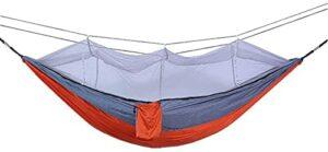 JSDKLO Hamac extérieur avec moustiquaire, Tente de Camping Double en Nylon Anti-Moustique, Tissu de Parachute, pour extérieur Coupe-Vent, Anti-Moustique, lit hamac de Couchage pivotant