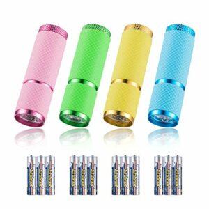 JTENG Lot de 4 mini lampe torche LED en aluminium avec cordon de camping, lampe torche de camping avec 12 piles pour le camping, la randonnée, le vélo, l'escalade et les urgences