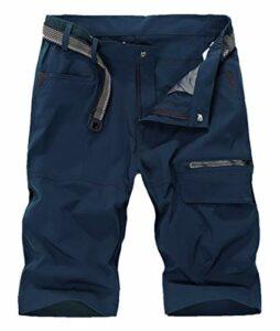 KEFITEVD Hommes Séchage Rapide Shorts de Escalade Cargo Pantalon Respirant Camping Capri Short Marine Clair