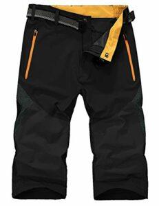 KEFITEVD Short Dry Safari pour Hommes 3/4 Camping Shorts Shorts De Pêche Shorts Cargo Extérieurs Noir et Gris