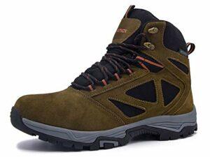 Knixmax Homme Chaussures de Randonnée Extérieur Antidérapant Imperméable Chaussures de Marche Randonnée, Brun, 44 EU (10)