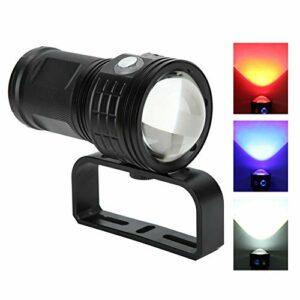 Lampe de Poche de plongée COB, Lampe de Poche étanche à LED de résistance à la Corrosion de Construction en Alliage d'aluminium, Escalade de Conversion Facile pour l'entretien du(Black)