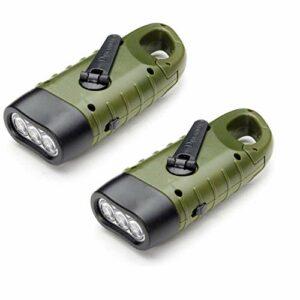 Lampe Torche Solaire Rechargeable(Lot de 2), VADIV LED Lampe d'Urgence à Dynamo Manivelle Flashlight avec Mousqueton pour Randonnée Voyage Camping Escalade,Armée Verte