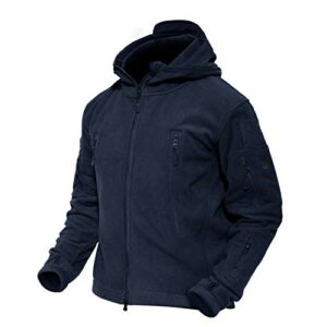 MAGCOMSEN Hiver Fleece Jacket Hommes De Plein air Escalade Chasse Manteaux Coupe-Vent Multi-Poches Marine XXL