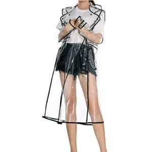 Merkisa Femmes Imperméable Transparent avec Capuche, Réutilisable Recyclable Légèrement Respirant Veste, Taille 8 à 14, Parfait pour la Randonnée et Le Camping Poncho de Pluie, Courte