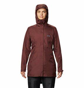 Mountain Hardwear Acadia Parka pour femme avec tissu imperméable léger pour protection contre la pluie lors de la randonnée, de l'escalade, du camping et tous les jours – Raisin lavé – Taille S