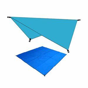Oppeno Bâche de Tente Camping -Bâche de Camping Tapis de Sol Bâche de Pluie Hamac Auvent Abri Imperméable pour Camping Randonnée Pique-Nique Plage (Bleu)