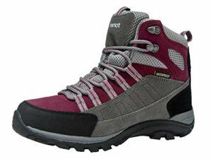 riemot Chaussure de Randonnée Montantes Femme, Bottes de Marche Trekking Escalade Montagne Outdoor Sport Impermeable Légères, Fuchsia EU 36
