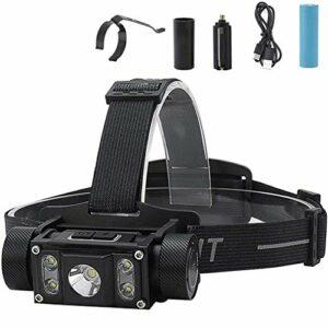 RXLLSY LED Rechargeable 5 LED 6 Modes d'éclairage Lampe Frontale LED avec Aimant – Lampe Frontale Super Brillante pour la randonnée Camping Escalade Spéléologie