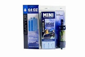 Sawyer Mini – Filtre d'eau pour randonnée, accessoire camping, trekking, MINI set de 1 Camouflage, purificateur d'eau de robinet + Sachet 2 x 2Litre SP114