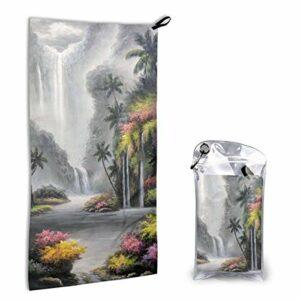 Sunny R Serviette à séchage rapide Peinture en cascade Serviette de plage Super absorbante Serviette de voyage légère pour Camping Sport Trekking 15,7 x 31,5 pouces