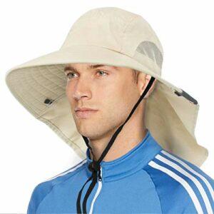 SVTEOKO Chapeau de soleil à large bord avec rabat de cou, UPF50+ pour randonnée, pêche, safari, pour homme et femme, beige