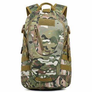 TFTREE Sac à dos, sac à dos tactique 25L, convient aux randonnées et aux séjours de chasse, sac à dos de chasse, système MOLLE, trou de casque, sac à dos camouflage militaire imperméable-Camou