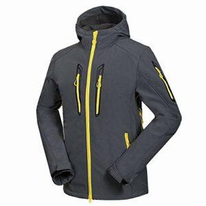 TOUY Hommes Softshell Polaire Randonnée Veste Zipper Style Coupe-Vent Respirant Sport Manteau Mâle Vêtements Équitation Escalade Manteau-Gris_XL