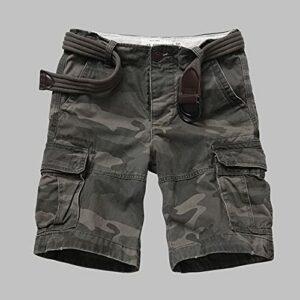 treseds Hommes en Plein air Camouflage Military Tactical Shorts d'usure résistant à l'usure Combinaisons Multiples Respirantes escaladant Randonnée Sports Short (Color : Green Camo, Size : XXL 36)