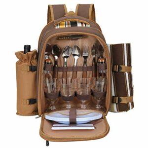 TTLIFE Sac à dos de pique-nique pour 2/4 personnes anti-fuite avec couverture, porte-bouteille, ouvre-bouteille, assiettes et couverts, sac de camping multifonctionnel pour randonnée en plein air