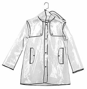 Warmiehomy Imperméable à Capuche Court Transparent pour Femme, Veste de Pluie Réutilisable pour Femme, Tailles 36 à 42, Parfait pour Le Gardien et Le Camping