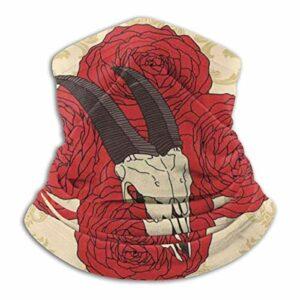WH-CLA Cache-Col Cagoule Crâne De Chèvre Gothique sur Os De Corne De Roses Rouges Décoration Faciale Multifonction Chapeaux Demi-Visage Elastique Bandana Unisexe Bandeaux pour Moto Extérieur Escalade