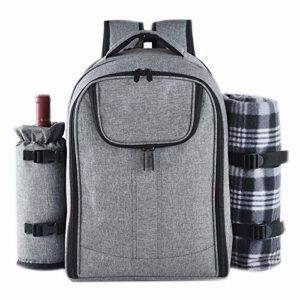 WMNRNYD Extérieur 4 Personnes Sac à Dos Pique-Nique Compartiment Isotherme Portable avec Vaisselle et Couverture, pour Camping/Randonnée/Jardin