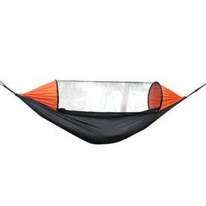 XHLLX Hamac de camping d'extérieur avec moustiquaire 280 cm x 140 cm portable avec sac de transport pour la randonnée, le camping, le jardin, l'extérieur – Noir et orange