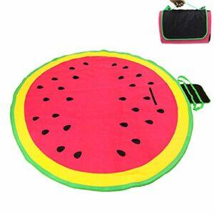 Yamyannie Couleur Sided Pad Sleeping Pique-Nique Melon d'eau Ronde Mat Camping Grande Plage étanche à l'humidité Pad Coussin Sol (Couleur : Rose, Taille : 200x200cm)