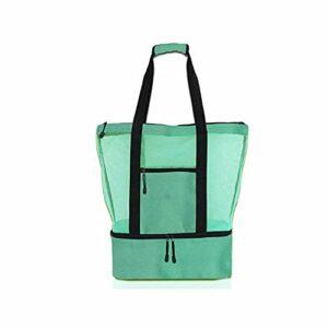 Yikeyuan Sac de Pique-Nique pour Dames – Compartiment de réfrigérateur surdimensionné en Maille à glissière, Sac fourre-Tout de Plage fermé pour Pique-Nique de Camping d'été en Plein air (Vert)