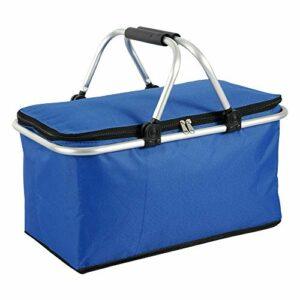 Your's Bath Panier à Pique-Nique pour 2-8 Personnes Grand Sac de Plage Isotherme Pliable Panier de Pique-Nique Imperméable pour Plage Vacances Camping Ecole 45x28x26cm (Bleu)