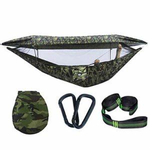 ZHICHUAN Loisirs Swing Camouflage Simple Double Hammock Outdoor Swing Avec Couvercle Net Portable Camping Ha Travel House Chaise Oscillante 114.1X57 Pouces Ha de Jardin Extérieur Ch
