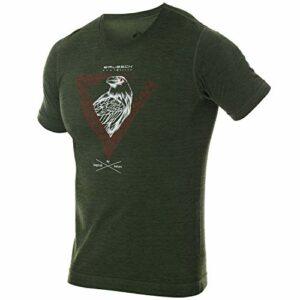 BRUBECK T-shirt à manches courtes pour homme – T-shirt de randonnée – Respirant – Sans coutures – 27 % laine mérinos – SS12650A L D. Vert