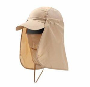 Chapeau Pêche de soleil Casquette Plage Large Couvrir le visage Anti-UV Protection Solaire Pliable Cycliste Séchage rapide Imperméable à l'eau Hommes Femmes pour Chasse Camping Randonnée Escalade