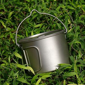 Crtkoiwa Titanium Pot Mug avec Poignée Pliable Hiker Pot Camping Tasse Extérieure 2.8L avec Sac avec Marque d'échelle pour Camping Randonnée Excursion PiqueNique Pédestre Pêche (2-4 Gens)