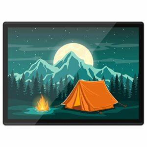 Destination 16464 Tapis de table en vinyle Quickmat A3 – Tente de camp de feu de camp en forme de lune, de montagne, de travail, de table, de tapis de souris, facile à nettoyer et étanche