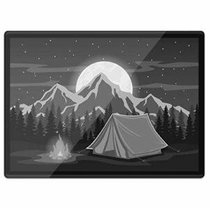 Destination 37383 Set de table en vinyle Quickmat A3 – Tente de camp de feu de camp Lune montagne Tapis de travail/Tapis de souris/Wipeable/Imperméable