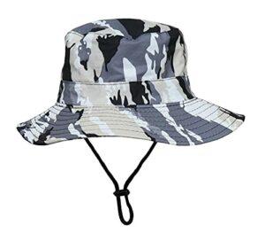 DLSM Chapeau de Camouflage imperméable extérieur, Chapeau de Soleil de Soleil pour Enfants, Chapeau de pêcheur respiratoire de pêche Convient à la randonnée en Plein air sur la Plage-Gris_Enfants-52c