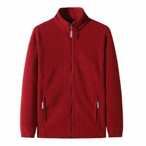 LDMB Veste de sport unisexe en polaire à col montant – Chaud – Style décontracté – Pour extérieur, escalade, chasse – Rouge – Taille XXL