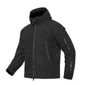 LIOOBO extérieur épaissir Manteau extérieur Capuche Softshell Polaire Coupe-Vent Vestes de randonnée en Montagne pour Le Sport Taille XXL (Noir)