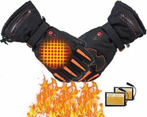 Mnjin Gants électriques Gants Chauffants Batteries Rechargeables pour Hommes et Femmes Cyclisme Moto Randonnée Ski Chasse Pêche, Réchauffeur de Main d'hiver Soulagement de l'arthrite
