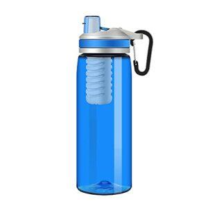 Newut Bouteille d'eau filtrée avec purificateur de Filtration de Charbon Actif de BPA, à 2 étages pour la randonnée, Le Camping, Le Sac à Dos et Les Voyages,Bleu