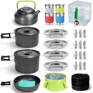 Odoland Multi-PCS Kit de Casseroles Camping, Cookware Kit Durable et Compact avec réservoir d'eau pliable 12L et seau, bouilloire et tasses en acier inoxydable pour Randonnée/Outdoor/Pique-Nique
