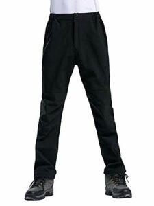 Phorecys Pantalon de randonnée en polaire doublé polaire imperméable respirant pour homme Hiver chaud Marche Escalade Noir M