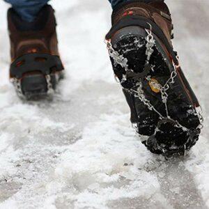 RANGE Portable La chaîne d'escalade de randonnée antidérapante Pince de Glace Couvre 8 Paires de Dents Une Paire (Color : Black)