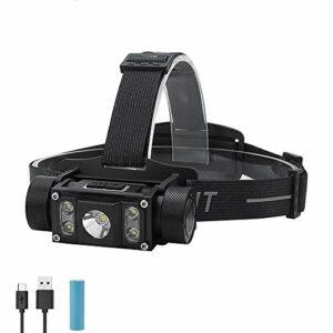 SDlamp Lampe Frontale Rechargeable À LED, XM-L2 + 4 * XP-G2 Max.6000LM Phare 21700/18650 Type-C Camping Chasse Lampe De Poche, pour l'escalade