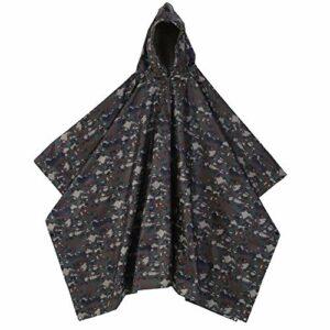 SOONHUA Poncho de pluie avec un sac, militaire imperméable à capuche Ripstop manteau de pluie Poncho Camping extérieur